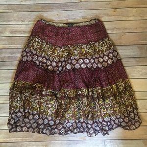 Miss Chievous Patchwork Boho Skirt Multicolor
